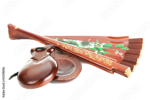 fan with castanets isolated on the white background