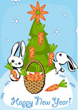 rabbits adorn the Christmas tree poster