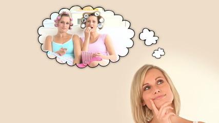 Blonde woman thinking about having fun