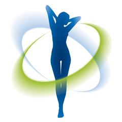 Silhouette junger Frau und Energieströmungen