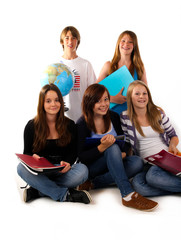 0711 Gruppe teenager schule globus