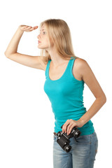 Side view of young blond woman looking forward