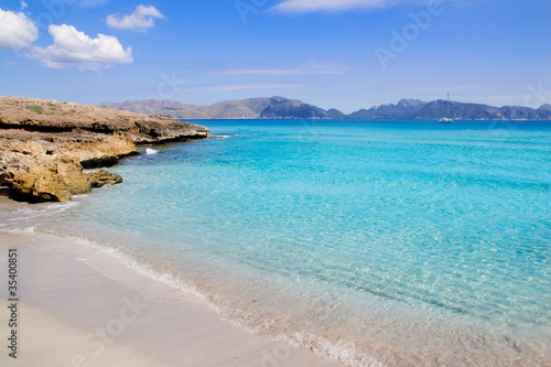 Alcudia beach in Cala San Pere from Balearic Mallorca