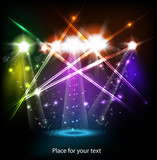 Fototapety banner neon light stage background for your text