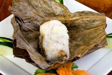 Chinese Sticky Rice wrapped in lotus leaf
