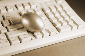 Golden Egg on Keyboard