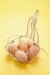 Eggs in  Wire Basket
