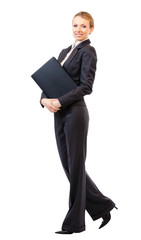 Full body of business woman with folder, on white