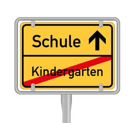 schule kindergarten, Ortsschild