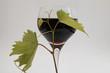 ein Glas Rotwein mit Weinlaub