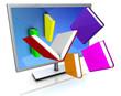 Monitor mit Büchern