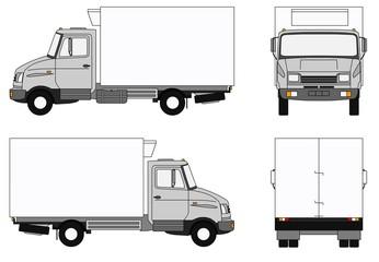 Grey refrigerator lorry