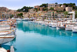 canvas print picture - Puerto de Soller Port of Mallorca with lllaut boats