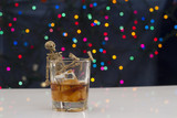 Skeleton with a Whisky. Alcoholism problem poster