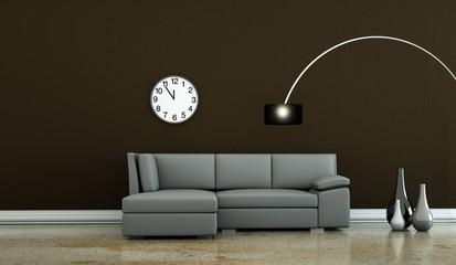 Wohndesign - graues Sofa vor brauner Wand
