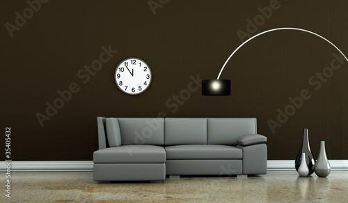 wohndesign graues sofa vor brauner wand von virtua73. Black Bedroom Furniture Sets. Home Design Ideas