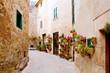 Majorca Valldemossa typical with flower pots in facade