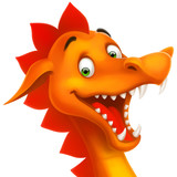 cute smiling happy dragon as cartoon or toy isolated on white