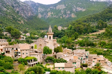Valldemossa valley village view in Majorca Tramontana