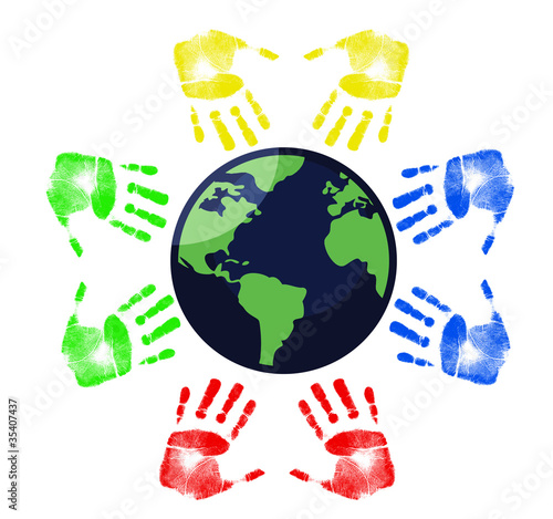 hands around the Earth illustration
