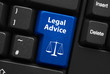 """canvas print picture - """"LEGAL ADVICE"""" key on keyboard (scales of justice law)"""