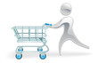 Metallic character shopping cart trolly concept