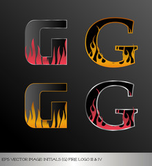 eps Vector image: initials (g)  metallic fire logo Ⅲ&Ⅳ