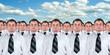 Many identical businessmen clones