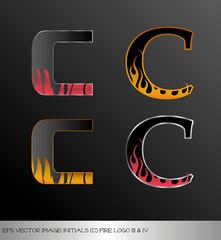 eps Vector image: initials (c)  metallic fire logo Ⅲ&Ⅳ