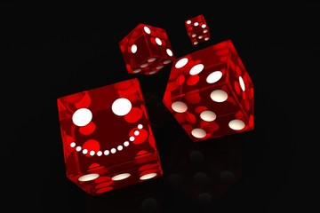 four dice on a white background
