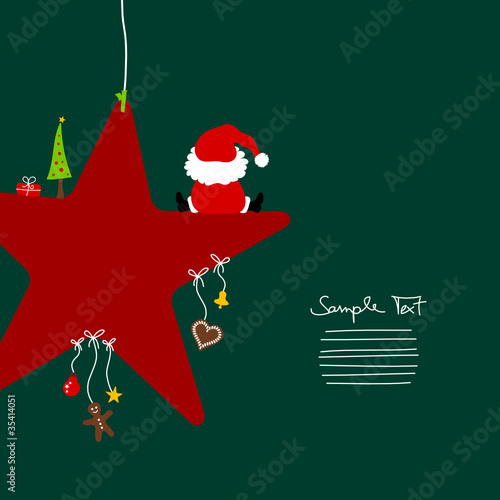 Santa Sitting On Red Star & Symbols