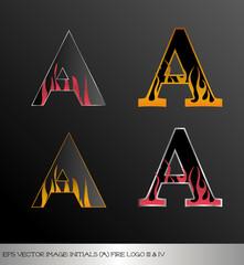 eps Vector image: initials (a)  metallic fire logo Ⅲ&Ⅳ