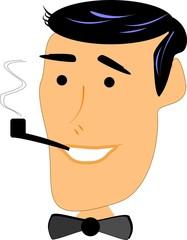 retro man smoking pipe