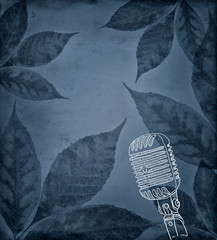 Autumn leaves with microphone illustration
