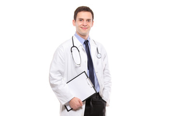 Portrait of a medical doctor holding a clipboard