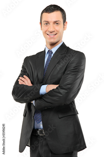 Portrait of a smiling businessman looking at camera