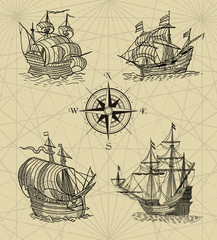 Pirate map with sailboats