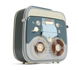 Old analog recorder reel to reel on white background