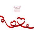 Red Ribbon 2 Hearts & Swirls
