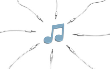 Music note and audio cables. 3d illustration