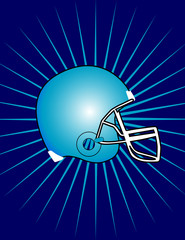 Isolated Football Helmet with Starburst Background