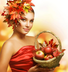 Autumn Girl with Apples