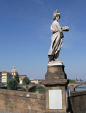 statue Summer on bridge on Arno, Florence poster
