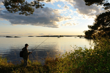 Evening fishing in the sea