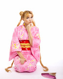 Young woman in kimono cosplay costume poster