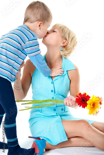 Son kisses mother loved