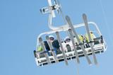 Ski lift - skiers  on ski vacation