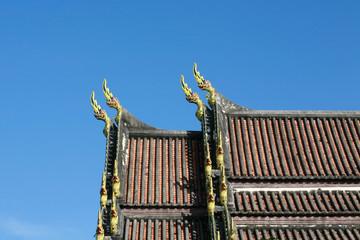 Naga Sculpture on Thai Temple Roof
