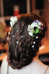 Beauty wedding hairstyle rear view