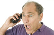 man middle age emotional reaction telephone